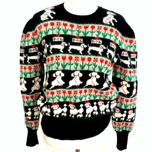 VTG SUSAN BRISTOL ANGORA/WOOL POODLE Theme Sweater